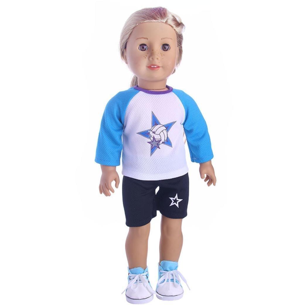 Doll Clothes Set for 18 inch American Girl Boy Doll Our Generation Mingfa Cute Summer Sportswear Outfits Doll Accessories (A) Mingfa.y MRLAK12A