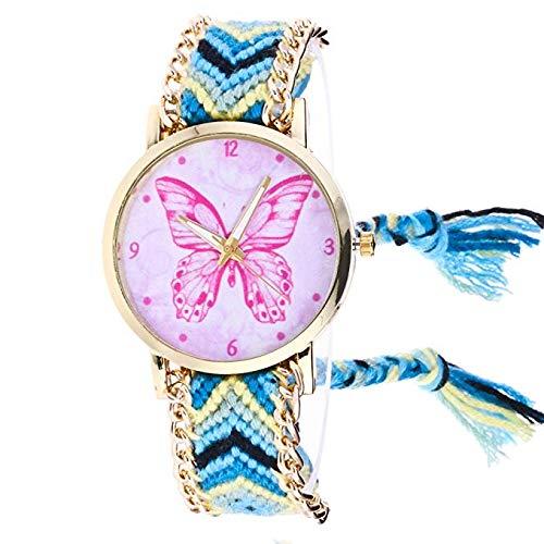 Nuevos Relojes de Mujer, Patrón de Mariposa Tejidos a Mano Pulsera de Cadena Reloj Análogo