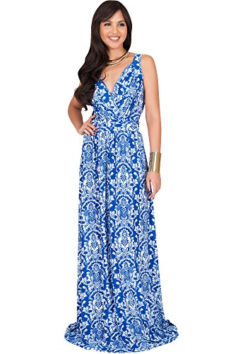 KOH KOH Plus Size Womens Long Sleeveless Stretchy Flowy Cute Spring Summer Sundress Sun Vintage Casual Floral Print Work Party Jersey Sexy Gown Gowns Maxi Dress Dresses, Royal Blue and White 2XL 18-20