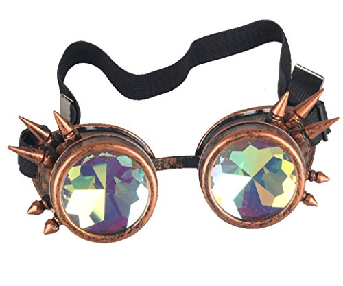 FLORATA Chrome Kaleidoscope - Vintage Steamopunk Goggles Rainbow Prism Kaleidoscopic Real Glass Crystal - Kaleidoscope Vintage
