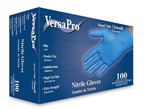 VersaPro Nitrile Gloves, Powder Free, Small (Box of 100) by VersaPro