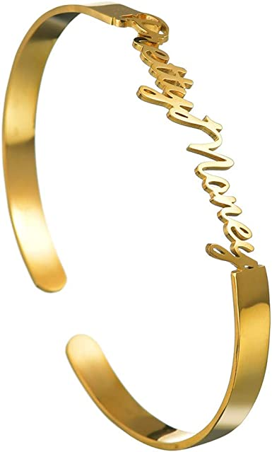 Personalized Custom Name Nameplate Open Cuff Bracelet Stainless Steel Jewelry