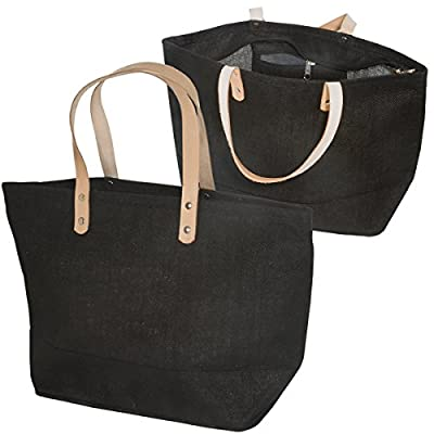 "Eco-friendly Reusable Bag Women Shopping Bag with Handles Jute Tote bag with brown Leather Handles Size 17.25""W x 10.5""H x 5.5"" Gusset - CarryGreen Bags"