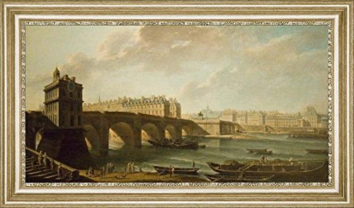 the-pont-neuf-and-the-samaritaine-by-nicolas-jean-baptiste-raguenet-16-x-32-framed-premium-canvas-pr