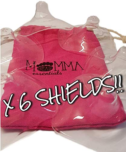 Momma Bear Essentials Premium Nipple Shield, Set of 6 with Hot Pink Soft Cotton Reusable Drawstring Bag - Non-Toxic, BPA and BPS Free