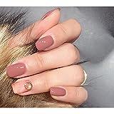 Dongcrystal 24pcs Nude Pink Texture Glossy False Nails Pear Decor Artificial Full Fake Nails Nail Art Tips Top Short