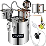 VEVOR Moonshine Still 5 Gal 21L Stainless Steel Water Alcohol Distiller Copper Tube Home Brewing Kit Build-in Thermometer for DIY Whisky Wine Brandy, 3 pots
