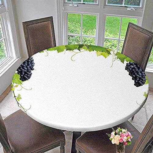 Mikihome The Round Table Cloth Wine Leaf with Loose Bunch of Berries Tannin Breed French Village Green Black for Birthday Party, Graduation Party 31.5