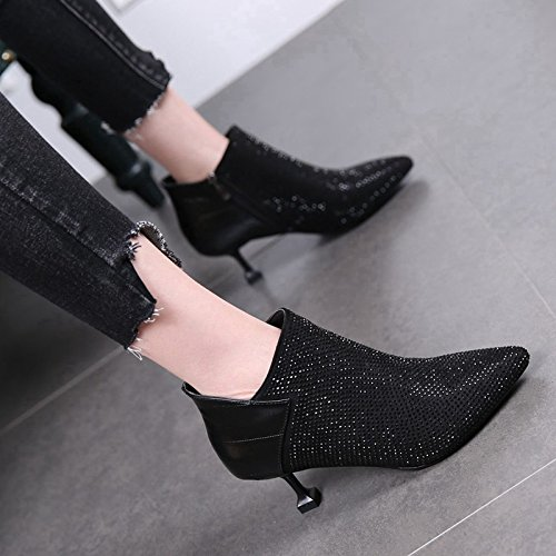 MDRW-The Cat With The Boots Heels New Winter Fashion Diamond With A Fine Woman Naked 6Cm Martin Pointed Boots Boots Thirty-Six Black High Heels by Olici