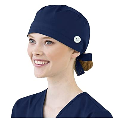 Ghazzi Unisex Scrub Cap Cotton Bandage Button Adjustable Nursing Scrub Cap Beauty Work Hat Surgical Bouffant Dustproof Navy at Women's Clothing store [5Bkhe0804031]