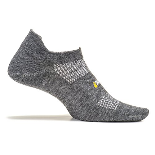 Feetures! High Performance Ultra Light No Show Tab, Heather Gray, Small