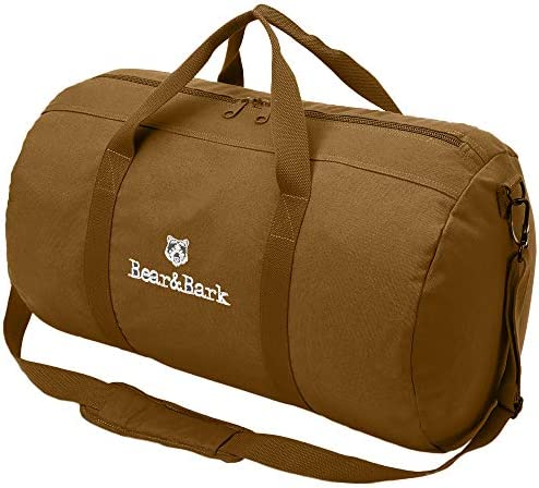 "Travel Duffle Bag - Coyote Brown 24""x14"" - 60.5L - Canvas Military and Army Cargo Style Carryall Duffel Tote for Men and Women – Carry On, Gym, Hiking and Storage Shoulder Bag"