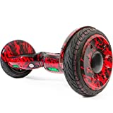 XtremepowerUS 10' Electric Scooter, Self-balancing Hoverboard w/ Bluetooth Speaker (Glossy Red Flame)