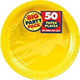 Amscan Big Party Pack Paper Dinner Plates 9-Inch, 100/Pkg, Sunshine Yellow