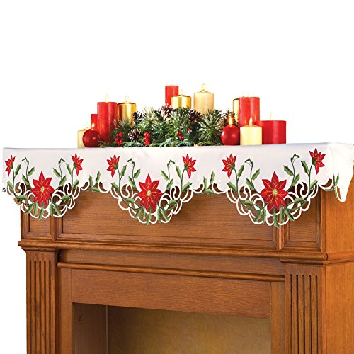 Christmas Poinsettia Fireplace Mantel Scarf