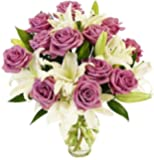 Benchmark Bouquets Lavender Roses and White Oriental Lilies, With Vase, 1 Pound