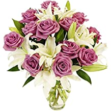 Benchmark Bouquets Lavender Roses and White Oriental Lilies, With Vase