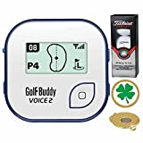 GolfBuddy Voice 2 Golf GPS/Rangefinder (40k+ Preloaded Worldwide Courses) Bundle with 1 Sleeve (3 Balls) Titleist Pro V1X and Magnetic Hat Clip Ball Marker (Four Leaf Clover)