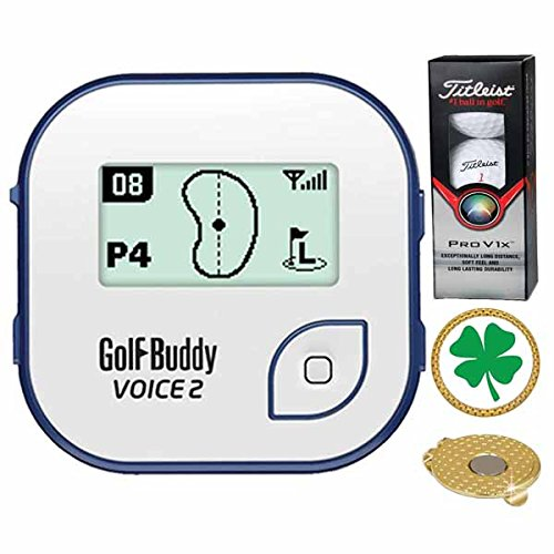 GolfBuddy Voice 2 Golf GPS/Rangefinder (40k+ Preloaded Worldwide Courses) Bundle with 1 Sleeve (3 Balls) Titleist Pro V1X and Magnetic Hat Clip Ball Marker (Four Leaf Clover) by Amba