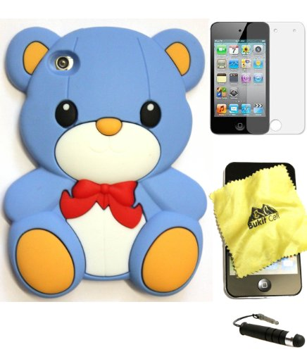 Bukit Cell BABY BLUE 3D TEDDY BEAR WITH BOW Soft Silicone Skin Case Cover for iPod Touch 4 4G 4th Generation + BUKIT CELL Trademark Lint Cleaning Cloth + Screen Protector + METALLIC Touch Screen STYLUS PEN with Anti Dust Plug [bundle - 4 items: case, cloth, stylus pen and screen protector]
