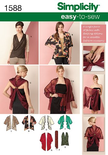 Simplicity Creative Patterns 1588 Kimono Jacket and Wrap Size XS-XXL, A (X-Small-Small-Medium-Large-X-Large-XX-Large) ()