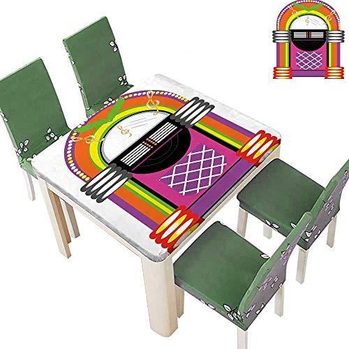 Printsonne Polyesters Tablecloth Vintage Music Not Radio Work Orange Purple and Green Wedding Birthday Party 50 x 50 Inch (Elastic Edge) ()
