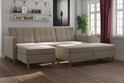 DHP Hartford Storage Sectional Futonwith Interchangeable Chaise and Storage Ottoman, Tan Chenille