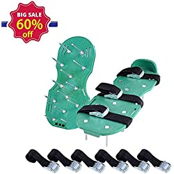 Lawn Aerator Shoes with 3 Adjustable Straps and Metal Buckles - Heavy Duty Spikes Lawn Aerator Sandals for Aerating Your Grass Lawn or Yard
