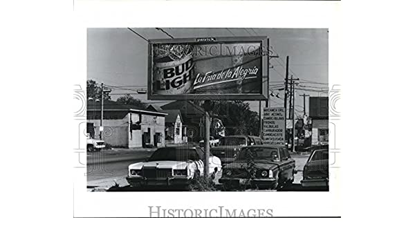 Amazon.com: 1987 Press Photo Beer Billboard in Hispanic area of Houston, Cantinas: Photographs