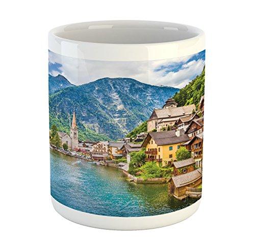 - Lunarable Wanderlust Mug, Hallstatt Mountain Village with Lake Hallstatt in the Austrian Alps Countryside, Ceramic Coffee Mug Cup for Water Tea Drinks, Blue Green