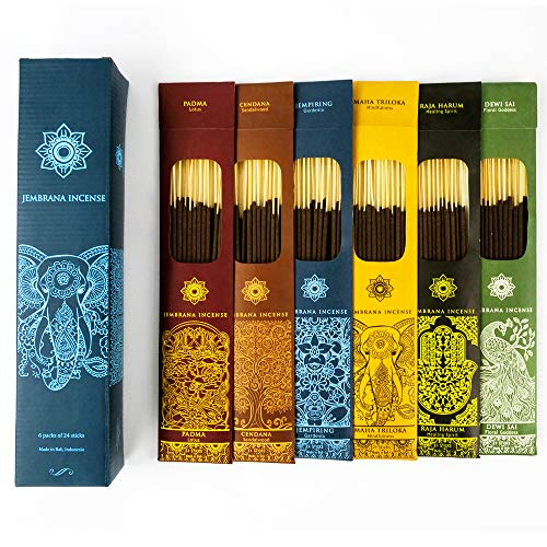 Jembrana Incense Sticks - Mix 6 Scents (144 Sticks Total), 24 Sticks Each of Lotus (Padma), Sandalwood, Gardenia, Maha Triloka, Raja Harum & Dewi Sai (Amber), Incense Gift Sets from Bali Soap