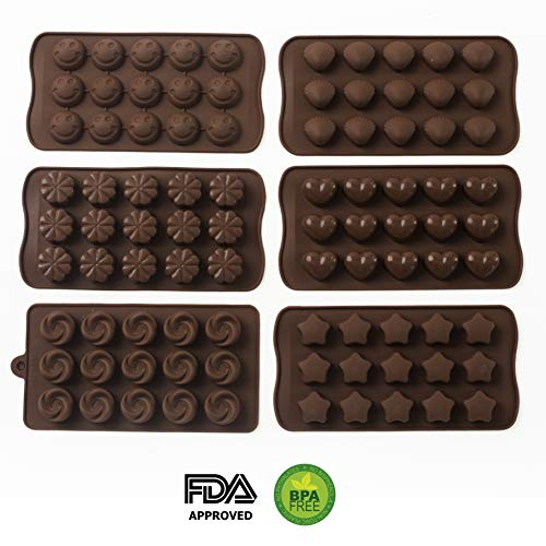 6 Pack Silicone Candy Molds + EBook With 5 Candy Recipes - Silicone Molds For Fat Bombs - Candy Molds Silicone - Chocolate Molds Silicon Molds Candy Mold Silicon Mold Hard Candy Molds Fat Bomb Molds by Mighty Cleaner (Image #1)