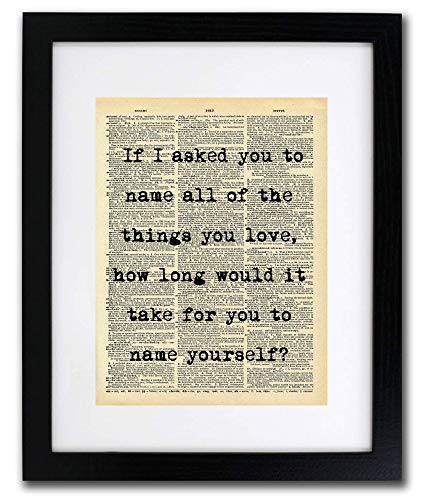 Name The Things You Love Quote Dictionary Art Print  Vintage Dictionary Print 8x10 inch Home Vintage Art Wall Art for Home Decor Wall Decorations For Living Room Bedroom Office ReadytoFrame