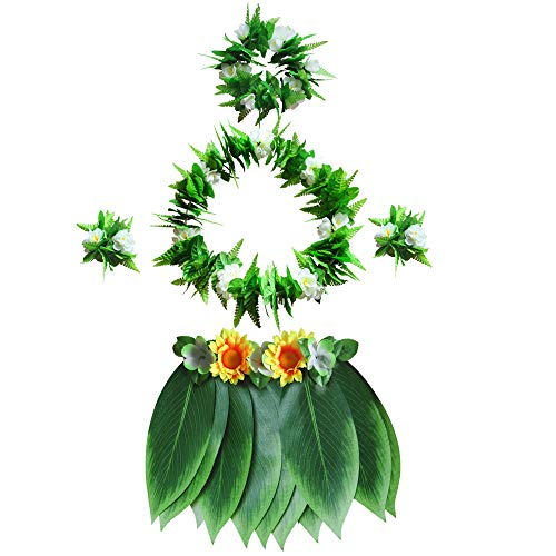 LAYSERI Hawaiian Tropical Hula Grass Skirt Set with Green Leaves Leis Bracelets Headband Wristband for Beach Luau Party Supplies Hawaiian Costume Set Party Decorations (Hula Grass Skirt Set, L) -