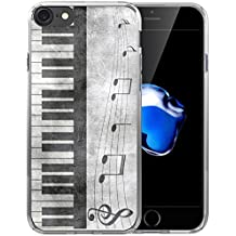 Case for Iphone 8 Music/IWONE TPU Rubber Transparent Cover Shockproof Silicone Replacement For Iphone 7/8 Retro Musical Piano Music Note Design