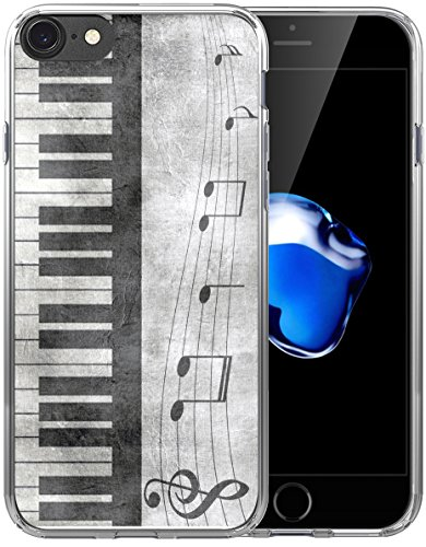 (8 Case Music/IWONE Designer Non Slip Rubber Durable Protective Replacement Skin Transparent Cover Shockproof Compatible with iPhone 7/8 Retro Musical Piano Music Note Design)