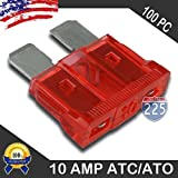 100 Pack 10 AMP ATC/ATO Standard Regular Fuse Blade 10A Car Truck Boat Marine RV