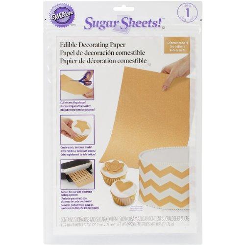 Wilton 710-2924 Shimmer Sugar Sheets, 0.85-Ounce, Gold]()