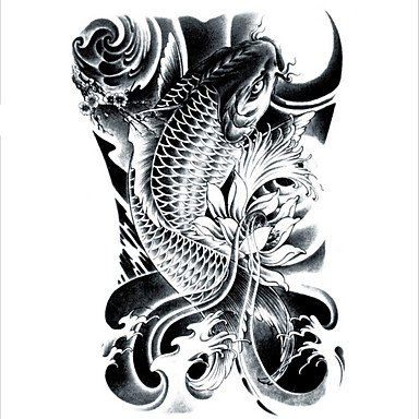 LC2814 2115cm 3D Large Big Tatoo Sticker Sketch Black Golden Fish Drawing Designs Cool Temporary Tattoo -