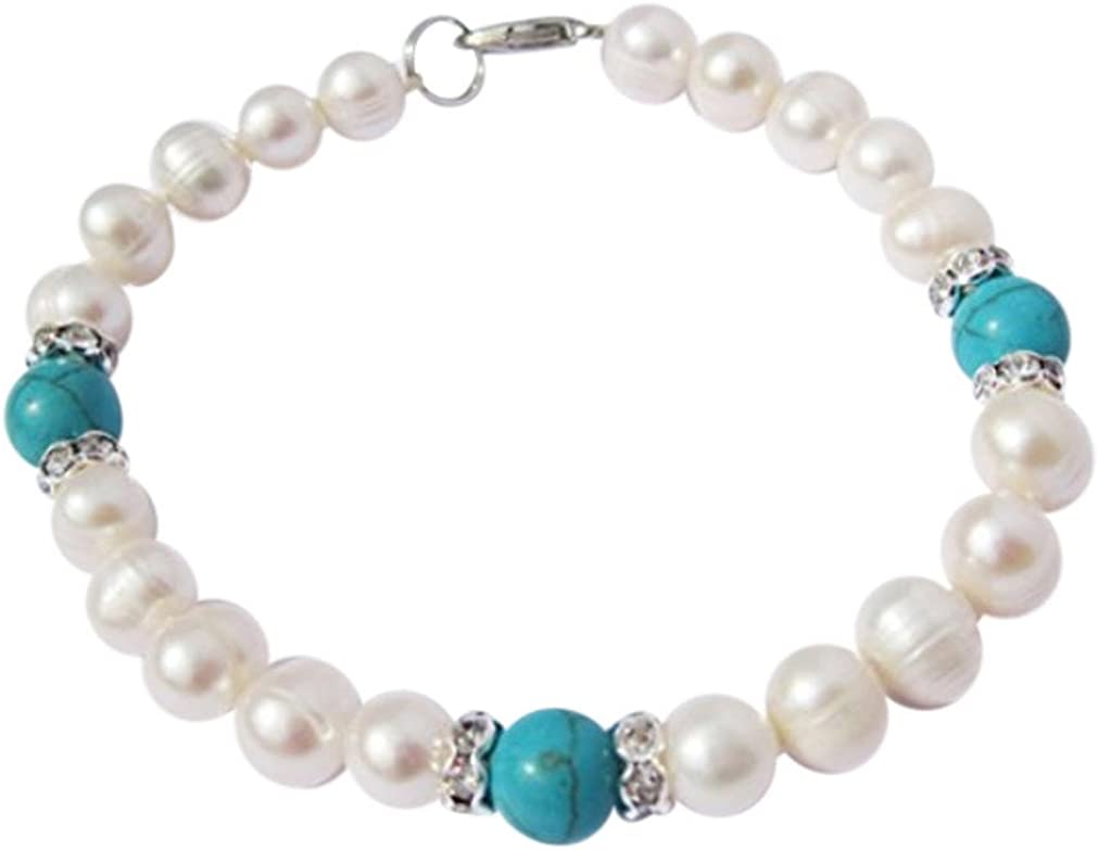 Freshwater Pearl and Turquoise Stretch Bracelet