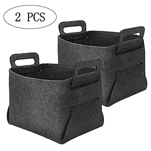PSALMS Set of 2 Collapsible Felt Storage Basket or Bin with Durable Handles, Home Organizer Solution for Office, Bedroom, Bathroom,Closet, Toys, Laundry (Size: 14.2x9.4x9.2), Dark Grey -