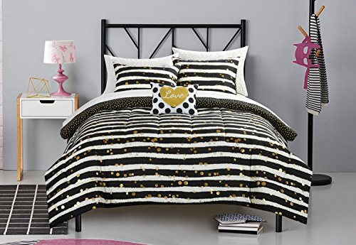 Pop Shop Gold Glitter Stripe Bed in a Bag, Twin, 6 (Glitter Twin Set)