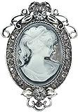 Gyn&Joy Vintage Inspired Cameo Victorian Lady Maiden Crystal Rhinestone Flower Brooch Pin BZ091