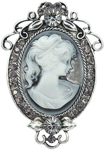 Brooch Pin Flower Cameo (Gyn&Joy Vintage Inspired Cameo Victorian Lady Maiden Crystal Rhinestone Flower Brooch Pin BZ091)