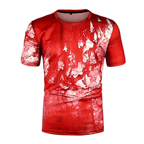 iHPH7 T Shirts for Men Funny Tshirts Pattern 3D Printed T Shirt Short Sleeve Tees M Red]()