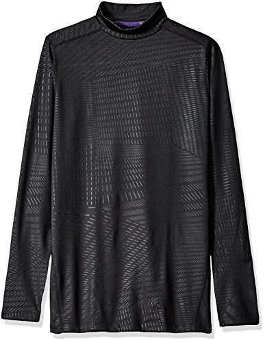 Core Mock Neck - CLIMATESMART Men's Articore Long Sleeve Mock Neck Heavyweigt Baselayer Top, Black Geo Emboss, XL