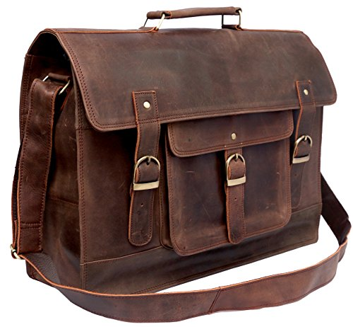"FAB 18"" Large Leather Briefcase Distressed Crazy Leather ..."
