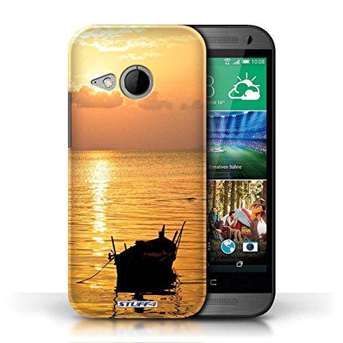 Etui pour HTC One/1 Mini 2 / Bateau de pêche conception / Collection de Coucher du Soleil