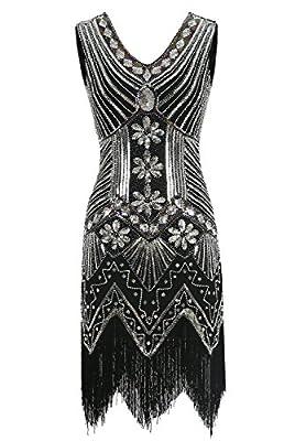 Emust Women's 1920s Gatsby Sequins Embellished Rhinestones Tassel Short Flapper Dress
