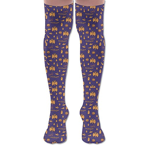 Novelty Halloween Ghost Fly Stylish Premium Quality Over Knee High Sock Athletic Crew Soccer -